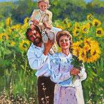 2011, Rodzina, Family, olej na płótnie, 30 x 40 cm.
