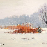 2013, Śnieg, olej na kartonie, 22 x 32 cm. Schnee, Snow, 冬季,雪,村