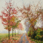 2015, Jesienna alejka, Herbstgasse, autumn alley, olej, płótno lniane, 30 x 40 cm.