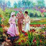 2010, Spacer w ogrodzie,  漫步在花園裡, olej na płótnie, 40 x  50 cm.