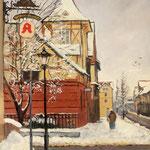 2015, Zima w mieście, Winter in the Town, Winter in der Stadt,  olej na sklejce, 30 x 40 cm.