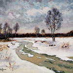 2012, Zima nad rzeką, Winter on the river, olej na płótnie, 30 x 40 cm. 冬季,雪,