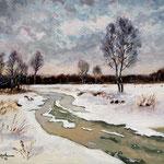 2012, Zima nad rzeką, Winter on the river, olej na płótnie, 30 x 40 cm. 冬季,雪,