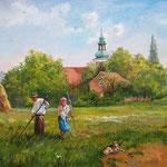 2011, Sianokosy, Heuernte, Öl auf Leinen, 50 x 70 cm.