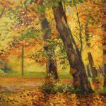 2015, Jesień w parku, Herbst im Park, olej, płótno lniane, 34 x 34 cm.