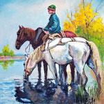 2010, Chłopak i konie,  olej na płótnie, 30 x 40 cm.