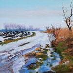 2011, przedwiośnie, olej na płótnie, 30 x 40 cm. Зима, снег, деревня, 冬季,雪,村