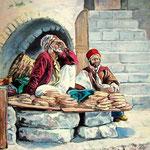 2009, Sprzedawcy chleba w Jeruzalem, olej na płótnie, 40 x 50 cm.