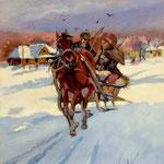 W drodze na targ, unterwegs zum Markt, olej na płótnie, 28 x 35 cm.