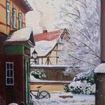 2013, Zima w Wernigerode, olej na płótnie lnianym, 30 x 40 cm.