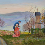 2013, Pryz kapliczce, olej na sklejce, 30 x 40 cm. Praying