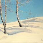 2015, Brzozy w śniegu, birches in the snow, Birken im Schnee, olej na płótnie lnianym, 30 x 40 cm.