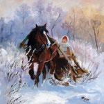 2011, Sanna, olej na sklejce, 24 x 30 cm.  Зима, снег, лошади, девушка, сани, 冬天,雪,马,女孩,雪橇