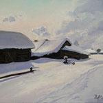 2014, Zima w Rosji, Winter in Russland,olej na płótnie lnianym, 31 x 40 cm. 冬季,雪,村