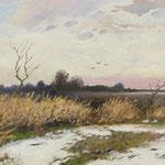 2016, Zimowy pejzaż, Winterlandschaft, olej, płótno lniane, 30 x 40 cm