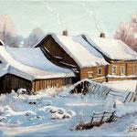 2011, Zima na wsi, olej na płótnie, 30 x 40 cm. 冬季在農村, Зима, снег, деревня