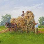 2014, Sianokosy, Heuernte, Hay harvest, olej na płótnie lnianym, 30 x 40 cm.