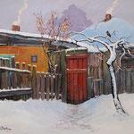 2013, Zima na wsi, olej na płótnie lnianym, 40 x 50 cm. 冬季,雪,村