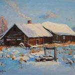 2013, Zima na wsi, Winter auf dem Lande, olej na płótnie lnianym, 30 x 40 cm. 冬季,雪,村