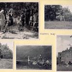 de jeunes dames à vélo jouent à saute-mouton au château d'Esserts-Blay