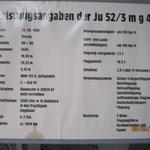 Die Daten zur der aus dem Hartvikvannsee geborgenen JU 52