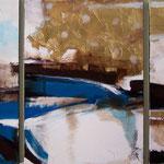 Inverno in laguna, acrilici e foglia d'oro su tela, 50 x 70 cm (trittico), 2006, Collezione privata.