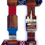 Paesi lontani, tecnica mista su assemblaggio di legno, 50 x79 cm, 2006.