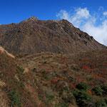 普賢岳(右)と平成新山(左)