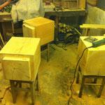 Holzsteinpapier, Werkstatt, Hocker,Tilmann Bohne, Kunsthandwerk