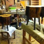 Holzsteinpapier, Werkstatt, Hocker, Tilmann Bohne, Kunsthandwerk