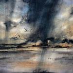 """""""Vento in laguna"""" (3) acquerello su carta arches cm 56 x 76"""