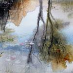 Riflessi nel laghetto del Giardino Viatori (3) cm 29 x 14