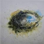 """""""Si apre il cielo"""" (1) acquerello su carta arches cm 30 x 30"""