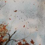 """""""Foglie"""" (1) acquerello su carta arches cm 17 x 12"""