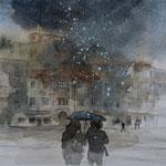 Nevischio - Piazza Vittoria acquerello su carta arches cm 20 x 29 - 2017
