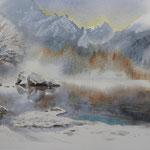 """""""Lago di Fusine"""" acquerello su carta arches cm 20 x 29"""
