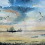 """""""Tramonto"""" (3) acquerello su carta arches cm 15 x 42"""
