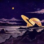Auqarell v. Bürgel - Der Planet Saturn, von einem seiner Monde aus gesehen, im Augenblick des Untergangs am Horizont