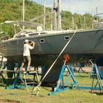 Boot polieren - schweißtreibende Sauarbeit