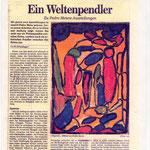 Pedro Meier »Ein Weltenpendler«. Ausstellungen: Galerie Bären Kunstverein Aarburg, Panorama Galerie Olten. Urs W. Scheidegger: Wochenendbeilage, Solothurner Zeitung, Berner Rundschau, Grenchner Tagblatt, Langenthaler Tagblatt, 24.2.1990 – SIKART Zürich