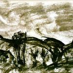 Pedro Meier Multimedia Artist – Zyklus von Federkiel-Zeichnungen (No. II) – Chinesische Sepia Tinte auf Papier – 30x21 cm – 1996 – Foto © Pedro Meier/ProLitteris