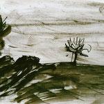 Pedro Meier Multimedia Artist – Zyklus von Federkiel-Zeichnungen (No. XI) – Chinesische Sepia Tinte auf Papier – 30x21 cm – 1996 – Foto © Pedro Meier/ProLitteris