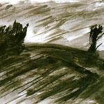 Pedro Meier Multimedia Artist – Zyklus von Federkiel-Zeichnungen (No. VIII) – Chinesische Sepia Tinte auf Papier – 30x21 cm – 1996 – Foto © Pedro Meier/ProLitteris