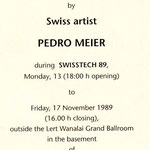Pedro Meier Exhibition: »Nailert Park Gallery« Hilton International Bangkok »A Swiss artist in Thailand« – November 1989 – Opening by the Embassy of Switzerland Bangkok – Invitation Card Painting: »Fireworks on the king's birthday« Pedro Meier Niederbipp-
