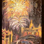 Pedro Meier Exhibition: »Nailert Park Gallery« Hilton International Bangkok »A Swiss artist in Thailand« – November 1989 – Opening by the Embassy of Switzerland Bangkok – Invitation Card Painting: »Fireworks on the king's birthday« Pedro Meier Niederbipp