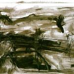 Pedro Meier Multimedia Artist – Zyklus von Federkiel-Zeichnungen (No. V) – Chinesische Sepia Tinte auf Papier – 30x21 cm – 1996 – Foto © Pedro Meier/ProLitteris