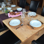 Dining table decorated