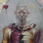 "Catherine Mulligan, ""Clown Self-Portrait"", 16"" x 14"", oil & pigment transfer on masonite"