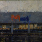 "Catherine Mulligan, ""Pathmark (Night)"", 16"" x 20"", oil on masonite"