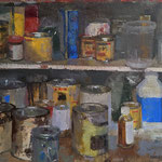 """Charles Newman, """"Collection of Combustibles"""", 18"""" x 24"""", oil on linen panel"""